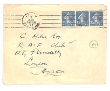 BG65 1925 France THOMAS COOK STATIONERY Paris Cover *RAF CLUB* London Piccadilly