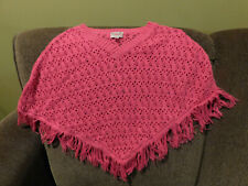 Girls Justice Pretty Pink Crochet Poncho / Shawl  • Size 6/7