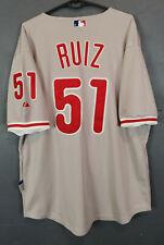 CARLOS RUIZ BASEBALL PHILADELPHIA PHILLIES MAJESTIC MLB SHIRT JERSEY SIZE L 48
