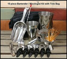 15-pc Professional Bartender Kit / Mixologist Set and Tote Bag w/Signature Picks