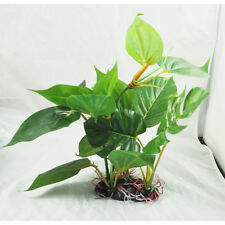 "10"" Green Lifelike Underwater Plastic Plant Aquatic Water Grass for Aquarium"