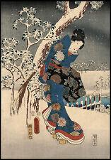 Japanese Art Print: Tale of the Genji, Snow Scene: Fine Art Reproduction