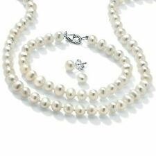 PalmBeach Jewelry Freshwater Pearl Silver Necklace Bracelet and Earrings Set