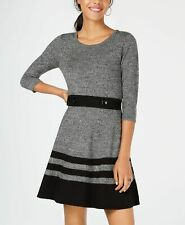 New $259 Bcx Juniors' Women'S Gray Black Striped Fit-Flare Sweater Dress Size Xs