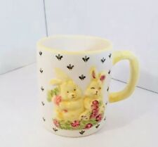 Vintage CSC Hand Painted Ceramic 3D Yellow Easter Bunny Rabbit Flowers Mug 16 Oz