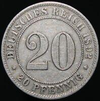1892 A | Germany 20 Pfennig | Cupro-Nickel | Coins | KM Coins