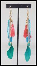 Boucles d oreilles BIJOUX boheme chic plume pompon bleu turquoise paris mode