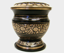 "4"" High Screen Black Brass Incense Cone Resin Charcoal Burner & free Coaster"