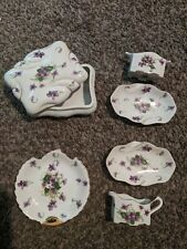 norcrest fine china violet rose leaf cut gold trim made in Japan six piece set