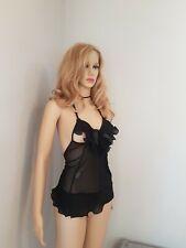 Black Sheer Sexy Peephole Cami Top UK Size Small Fetish Erotica
