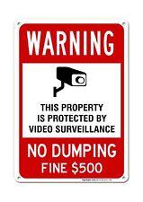 No Dumping Sign, Video Surveillance Sign, No Dumping Fine $500 Sign, 10x14 Ru.
