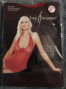 Leg Avenue 2Pc V-Cut Front Halter Dress w Satin Bow & G-String RED Sexy Lingerie