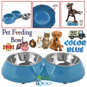 Dog Puppy Rabbit Cat Pet Animal Twin Feeding Station Food Water Double Bowl Dish