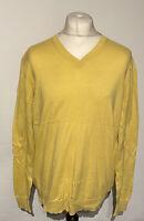 NAUTICA Men's Jumper Pullover V Neck Yellow Large 100% Cotton