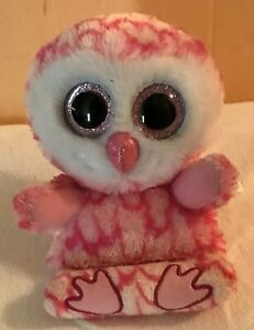 """TY Beanie Boo PINK OWL MILLY CELL PHONE HOLDER 6"""" Plush GLITTER EYES"""