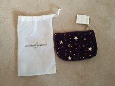 Elizabeth Scarlett Indigo Velvet Makeup Bag Embroidered