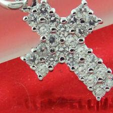 CYF93 GENUINE REAL 925 STERLING SILVER LADIES DIAMOND SIMULATED CROSS PENDANT