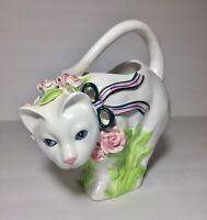 Vintage Ceramic Cat Planter Vase By Ribbon Roses 1989 Hand Painted Seymour Mann