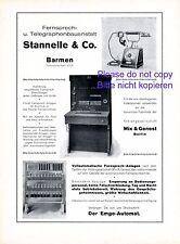 Telefon Telegraph Fabrik Stannelle Barmen Reklame 1926 Telefonapparat Werbung +