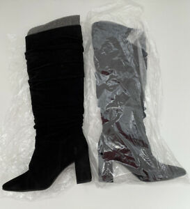 BNWB Anthropologie Black Suede Slouch Ruched Knee High Heel Boots UK6 EU39 £198!