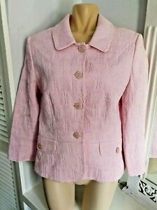 Phase Eight Ladies Jacquard Floral Pink Jacket Fully Lined Size 12