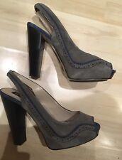 Hell Bunny Grey Blue Suede Platform Shoes Heels Size 4 37 Burlesque RRP£65  New