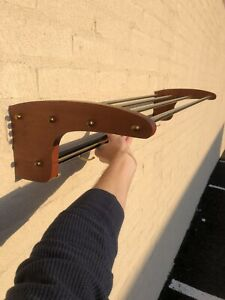 Mid-Century Modern wall hat and coat rack brass and Wood 1950s Carl Aubock Style