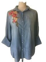SAKS FIFTH AVENUE Blue Denim Chambray Floral Embroidered Peasant Boho Shirt Sz M