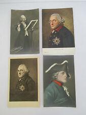 Lot of 4 FREDERICK II of Prussia Commemorative Postcards circa 1912