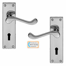 CARLISLE BRASS DL54CP Polished Chrome Victorian Scroll Lock Door Lever Handle
