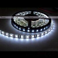 Waterproof Cool White 5M 300Leds 5050 SMD LED Flexible Strip Light 12V Black PCB