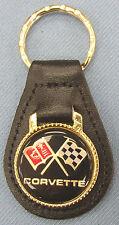 Black Chevrolet C3 CORVETTE Leather Goldtone Keyring 1978 1979 1980 1981 1982