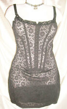 USA S/M VinTage Corset Slip Frederick's Victorian Lace Powernet Boned Black New