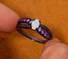 Stunning Quality White Fire Lab Opal Purple Crystals Black Metal Ring Sz 8