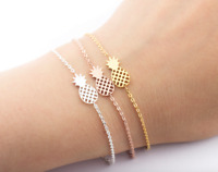 Gold Silver Or Rose Gold Pineapple Minimalist BFF Dainty Gift Bracelet UK Stock