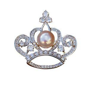 Elegant 10-10.5mm Baroque Light Pink freshwater pearl White Crown Brooch BH73