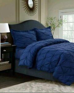SYDNEY PINTUCK 3PC MICROFIBER DUVET SET MOONLIGHT BLUE SHAMS BEDROOM HOME DECOR