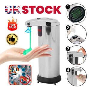 Automatic Soap Dispenser IR Sensor Handsfree Liquid Hand Wash Bathroom Stainless