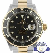Rolex Submariner Date 16613 Luminova Two-Tone 18K Gold Black 40mm Dive Watch