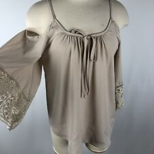 NWT Boston Proper XS Cold Shoulder Crochet Sleeve Blouse Tie Taupe