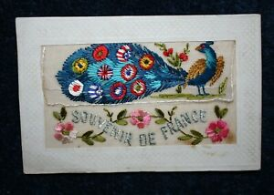 WW1: World War 1 Embroidered Silk Postcard 1914- 18: Peacock with allied flags