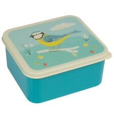 dotcomgiftshop PLASTIC LUNCH BOX WITH PUSH ON LID BLUE TIT  DESIGN