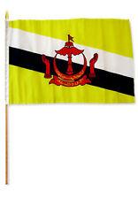 """12x18 12""""x18""""  Brunei Stick Flag wood staff"""