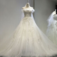 White Pearls Bride dress Wedding Bride gown Ball Gown Off-shoulder Lace up F029