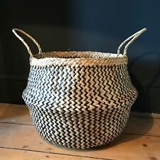 X Large Black Natural Seagrass Belly Basket Zig Zag Straw Planter Laundry Basket
