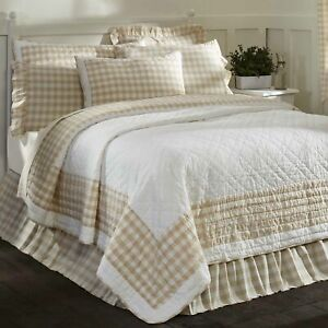 VHC Brands Farmhouse King Quilt White Patchwork Annie Buffalo Bedroom Decor