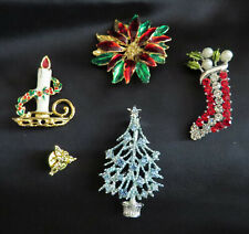 stocking tree poinsettia candle holder angel Vintage Christmas brooches - 5 pins