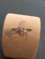9ct Yellow Gold Diamond Pear Shaped Cluster Ring