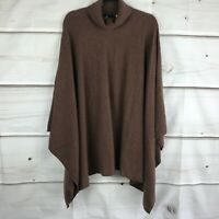 Soft by NAADAM Womens 100% Cashmere Turtleneck Poncho Knit Brown Plus One Size