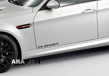 V6 SPORT Vinyl Decal racing speed car emblem logo skirt door sticker BLACK